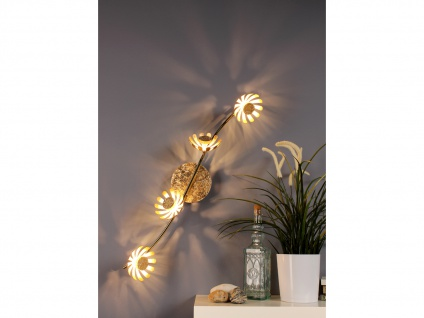 Vierflammige florentiner Blumen Motiv LED Deckenleuchte aus Metall in Blattgold