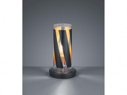 Kleine Tischleuchte mit Glaslampenschirm gestreift Zylinderform Ø10cm Höhe 27cm