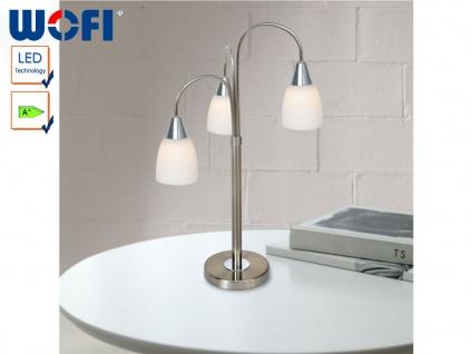 LED Tischlampe Nickel / Chrom, Glas opal weiß, Wofi-Leuchten