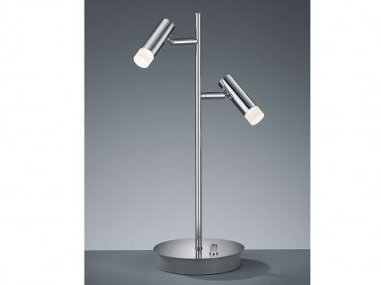 Moderne LED Tischleuchte dimmbar mit 2 Spots schwenkbar in Chrom Nachttischlampe