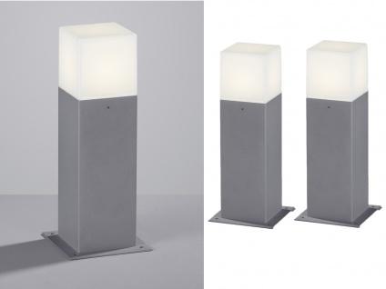 LED Sockelleuchte in Hell Grau 30cm - 2er Set Terrassenbeleuchtung Wegeleuchten