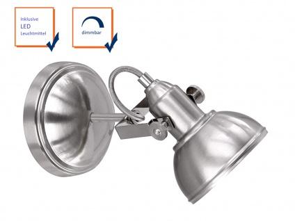 LED Wandspot aus Metall in Nickel matt, dreh-und schwenkbarer Retro Wandstrahler - Vorschau 3
