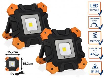 2 Stk LED Outdoor Baustrahler mit Akku & USB Kabel - Werkstattleuchten Baulampen