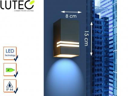 Edelstahl LED Außenwandleuchte H. 15cm IP44 Downlight Fassadenbeleuchtung