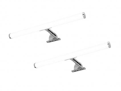 LED Spiegelleuchten 2er SET fürs Badezimmer aus Kunststoff chromfarbig weiß Rohr
