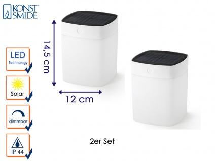 Solar LED Leuchte im 2er Set Weiß 3-Stufen Dimmer IP44 Terrassenbeleuchtung