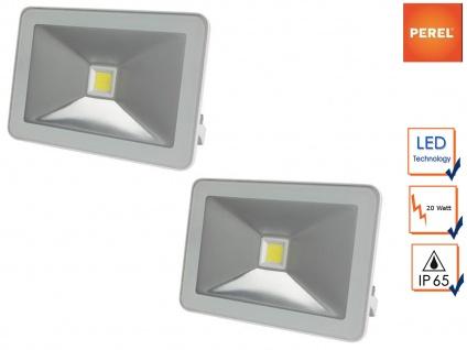 2er Set 20W LED Baustrahler wamweiß, Fluter weiß Arbeitsleuchte Baustelle IP65