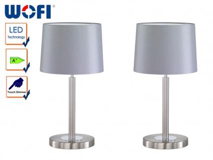 2 Stk LED Tischlampe Nachttischlampe Touchdimmer Nickel matt Schirm grau H.49cm