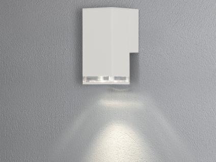ALU Wandlampe für Außen Innen DownLight IP44 Weiß 16cm hoch Fassadenbeleuchtung