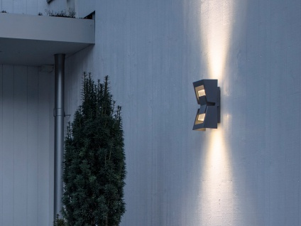 2er-Set dimmbare UP/DOWN Außenwandleuchten POTENZA austauschbares LED Modul - Vorschau 4