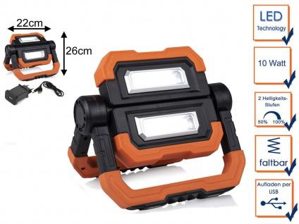 LED Baustrahler mit Magnet Akku USB Kabel - Baustellenlampe Baustellenstrahler