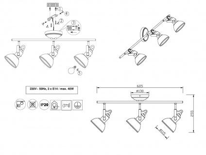 3 flammiger Retro Deckenstrahler innen aus Metall in Nickel, dreh-und schwenkbar - Vorschau 5