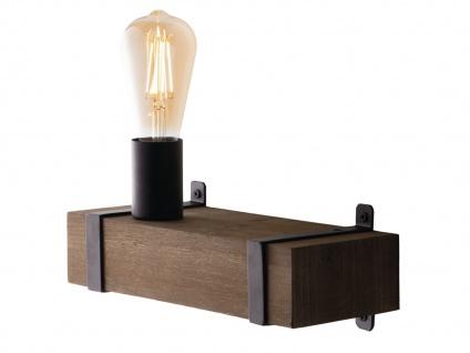 Ausgefallene Vintage Industriedesign Wandlampe einflammig mit Holzbalken antik