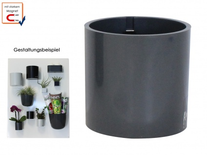 Kunststofftopf mit Magnet Ø 10 cm, Grau, Wandaufbewahrung Wanddeko, KalaMitica