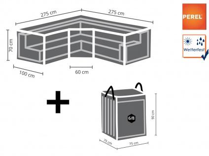 Abdeckung trapezförmig 275x275cm für Garten Lounge + Schutzhülle für 6-8 Kissen