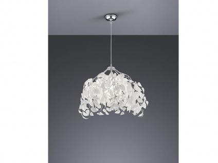 Ausgefallene LED Pendelleuchte Lampenschirm Ø38cm weiße Blätter in Federnoptik