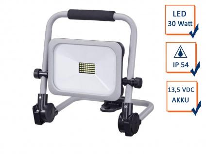 LED Baustrahler 30Watt tragbar, Akku & Netzteil 3 Stufen, klappbare Arbeitslampe