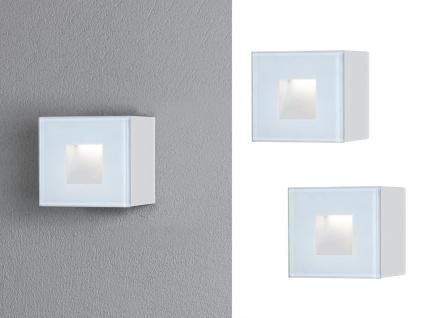 2x LED Wandspot Unterputz kleine Außenwandleuchte Auf-& Einbauleuchte weiß 8x8cm