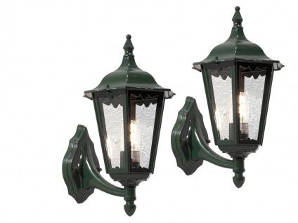 2er-Set Wandleuchte FIRENZE, vierstrebig, E27, Aluminium grün, IP43