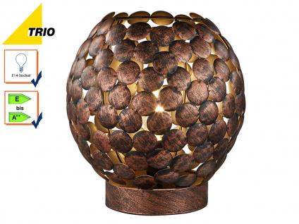 Tischleuchte Tischlampe FRIEDA Metall Kupfer anitk Ø22cm, E14-Fassung