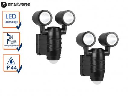2er Set LED Sicherheitsleuchten mit Bewegungsmelder Batteriebetrieb Wandleuchten