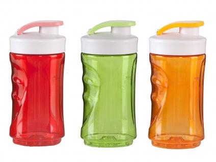 DOMO 3er-Set Ersatzflaschen für Smoothie Maker Mixer 0, 3L rot-orange-grün - Vorschau 2