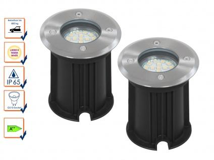 2er-Set LED Bodeneinbaustrahler, rund, belastbar bis zu 800 kg