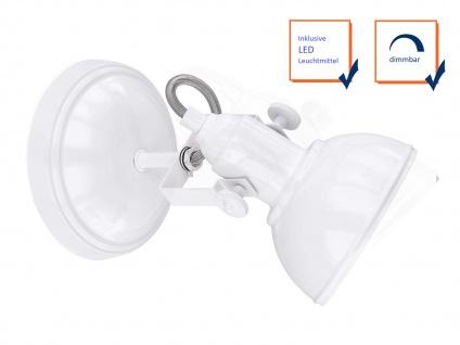 LED Wandspot im Retro Look aus Metall in Weiß dreh-und schwenkbar Wandstrahler - Vorschau 3