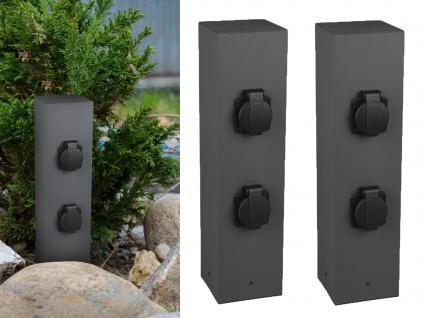 Steckdosensäule außen Anthrazit 2er Set Außensteckdosen 4 fach Gartensteckdosen