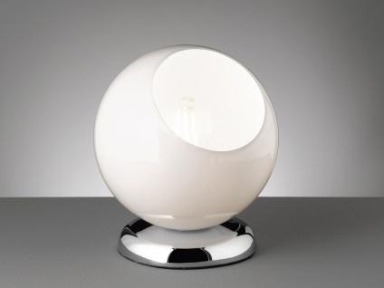Moderne Tischleuchte rund mit Glasschirm weiß Ø20cm, Höhe 22cm - Nachttischlampe - Vorschau 3