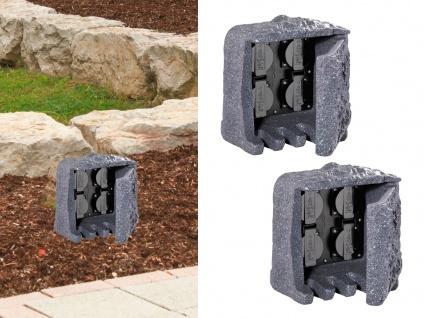 Außensteckdosen Steinoptik 4 fach - 2er Set Gartensteckdosen Terrassensteckdosen