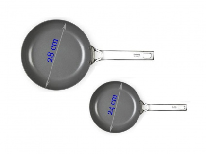 2er SET Keramikpfannen ANTIHAFTBESCHICHTET für Induktion geeignet Ø 24 /28 cm