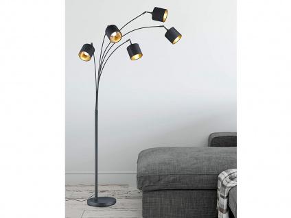 200cm hohe LED Standleuchte 5 flammig mit STOFF Lampenschirm in schwarz/gold