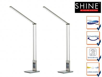 2x LED Schreibtischleuchte SHINE Nickel matt verstellbar dimmbar Höhe 98cm Büro