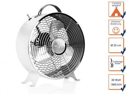 Weißer RETRO Tischventilator 2 Stufen Ø 25cm tragbar leise Camping Luftkühler