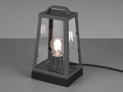 LED Außentischleuchte in Anthrazit eckige Laterne Bodenlaterne Bodenlampe Garten