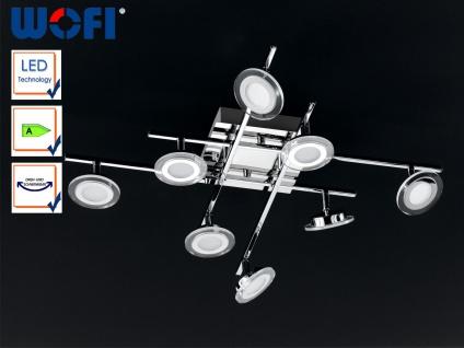 8-fl. LED-Deckenlampe, Chrom, Spots schwenkbar, Wofi-Leuchten