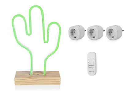 USB Neonleuchte Kaktus, Multimedia Set mit 3 Mini Funksteckdosen & Fernbedienung