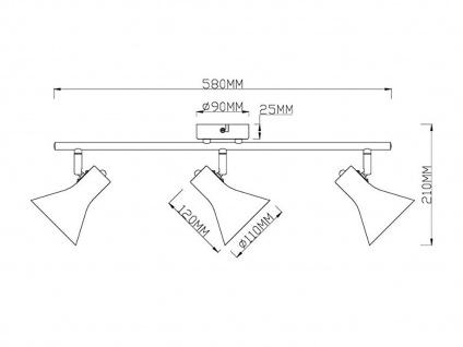 Deckenstrahler im Retro Look aus Metall in Schwarz/ Gold 3 Spots dreh+schwenkbar - Vorschau 4