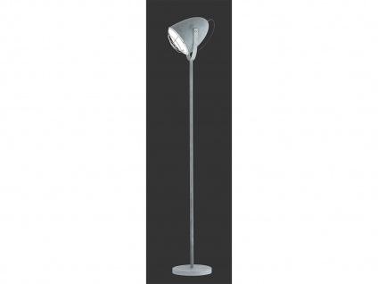 1 flammige Stehleuchte flexibel Silber mit Metallschirm Ø19cm in Weiß Höhe 150cm