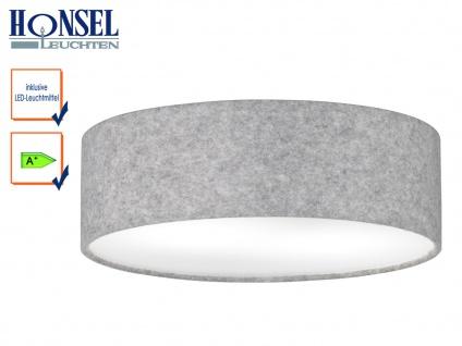 Runde LED Deckenleuchte Schirm Filz grau/Abdeckung weiß Ø 40cm Wohnraumleuchte