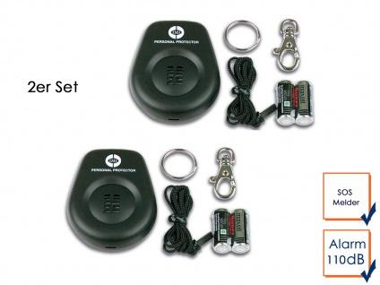 2er Set Mini-Taschenalarm Überfallalarm SOS-Notruf Personen-Alarm 110dB Schutz