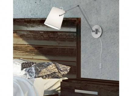 Design LED Wandleuchte mit schwenkbarem STOFF Lampenschirm in Weiß - Leseleuchte