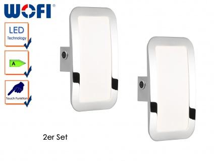 2er Set LED Wandleuchte SAGA, Chromfarbig, Touchschalter, Wandlampe Innen