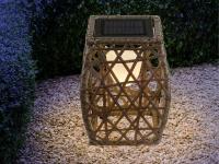 Rattan LED Solarleuchte - Stehlampe für den Garten & draußen mit Geflecht-Design