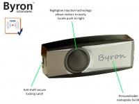 Beleuchteter Funk Klingelknopf schwarz für drahtlos Türklingeln Byron BY-Serie