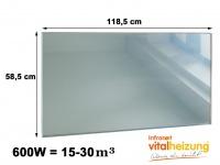 600W Glasheizpaneel Infrarotheizung Spiegel, Glaspaneel ohne Rahmen Vitalheizung