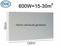 600W Infrarotheizung, 120x60 cm, für Räume 15-30m³, bemalbar, IP44