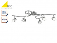 6 flammiger TRIO LED Deckenstrahler SHARK, Retro Deckenlampe Deckenleuchte Spots