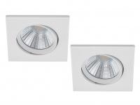 2 LED Einbaustrahler Decke eckig schwenkbar dimmbar Weiß matt 5, 5W Deckenlampen